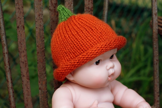 Halloween Pumpkin Hat - Costume Hat Knitted for Newborns