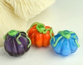 Three Pumpkins Handmade Glass Lampwork Beads SRA - BlueFireGlass