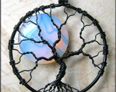 Rainbow Moonstone Full Moon Tree of Life Pendant Black Wire Wrapped Opalite (Luna Lunar Night Sky Mystical) Holiday Gift Idea for Her - PhoenixFireDesigns