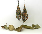 Wire Crochet Earrings Bronze Fall Teal Orange Aqua Tan Faerie Bells Rustic Autumn Jewlery - AlbinaRose