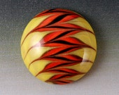 Zig Zag Cabochon - Handmade Colored Porcelain Domed Cab