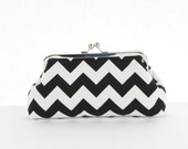 Black White Chevron Clutch/Black White Chevron Wedding Accessory/Chevron Purse - ModDotTextiles