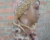 Beige and Coral Blend Cap set with Matching Curly Scarf