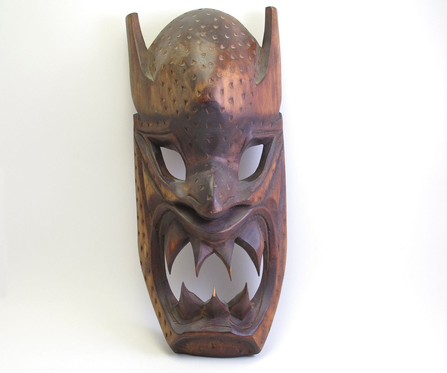 Vintage Wooden Ethnic Evil Monster Mask Carving