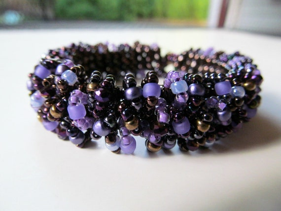Custom Caterpillar Beadwoven Bracelet in Purple and Brown Made Just for You