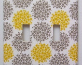 Light Switch Cover Double Switchplate - Gray and Yellow Bubbles