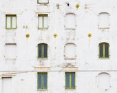 Urban Photography Print, City, Green, White, Fine Art, Windows, Abstract, Building, Photograph  - Stages - CatamountDigital