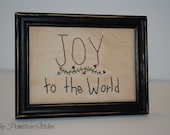 Joy to the World Framed Stitchery,  Hand Stitched, Christmas, Winter, Christian