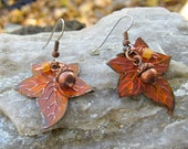 Handpainted LEAF and ACORN EARRINGS Perfect Fall Earrings on Antique Brass Wires Red Orange Bronze Brown