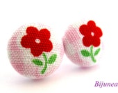 Flower earrings - Red flower earrings - Flower stud earrings - Flower studs - Flower post earrings - Flower posts sf886