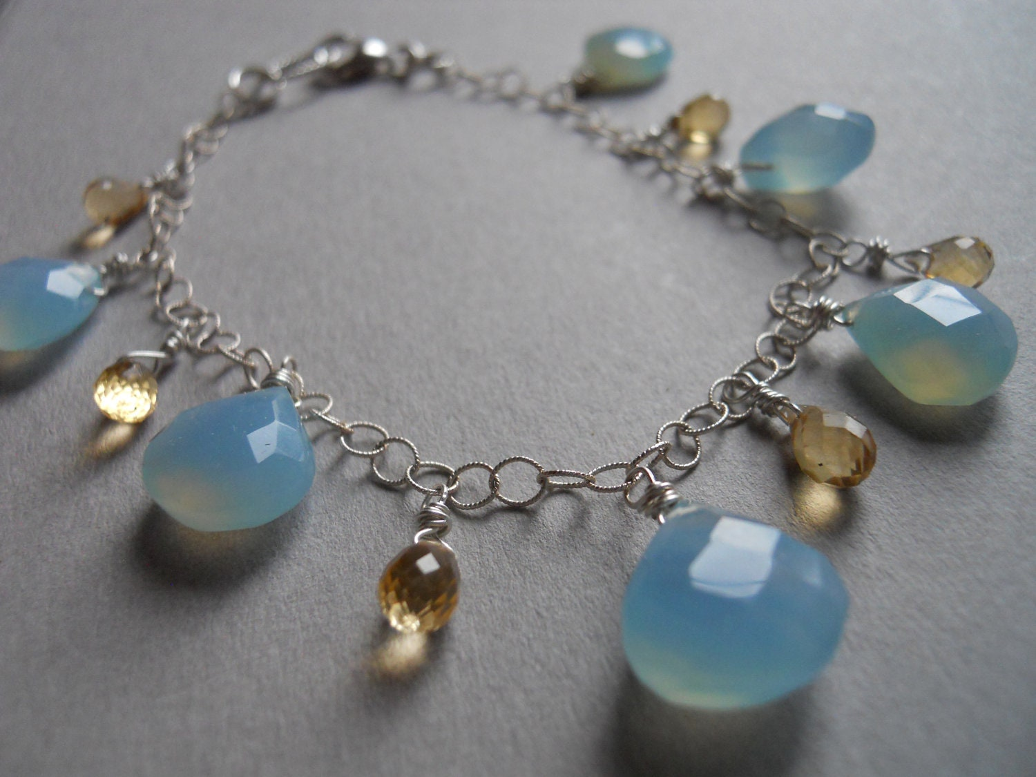 SALE WAS 84 now 70 Like Butter soft golden blue chalcedony and citrine bracelet - $70.00 USD