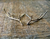 Sterling Silver Antler Earrings - AutumnEquinox