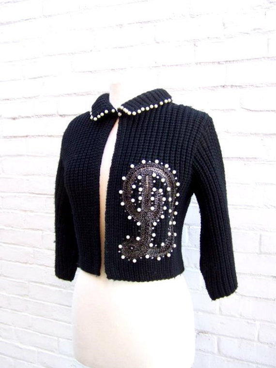 1950s Ethel of Beverly Hills Black Knit Monogram D Bolero Sweater