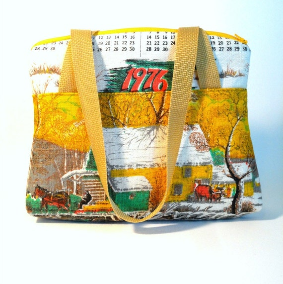 SALE vintage linen handbag calendar towel kitsch