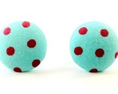 Teal and Red Polka Dot Fabric Button Post Earrings - 18mm - RackFocus