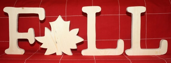 UNFINISHED FALL wood letters with maple leaf as 'A'