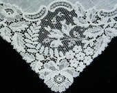 Gorgeous Antique White Linen and Fancy Honiton Bobbin Lace Brides Wedding Handkerchief, 8127 - HeirloomLinens