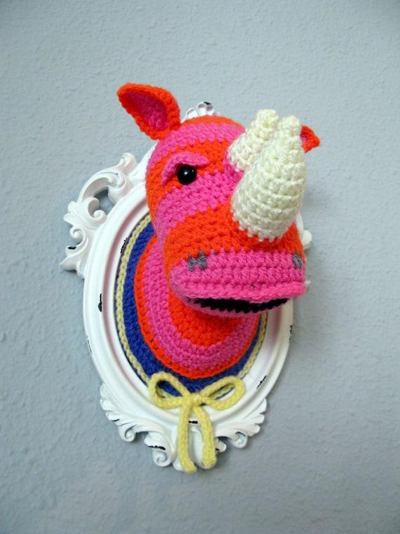 Crochet pink and orange rhino head