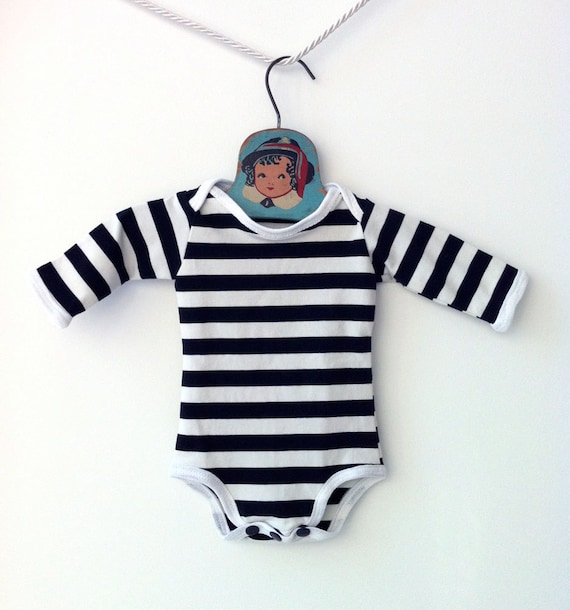 Baby Boy Unisex Striped Black and White Onesie Bodysuit - With Sleeves