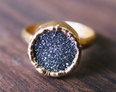 Black Druzy Gold Ring - friedasophie