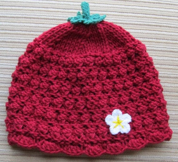 Number 67 Knitting Pattern Cotton Berry Hat in Sizes  3-6 Months, 12-24 Months