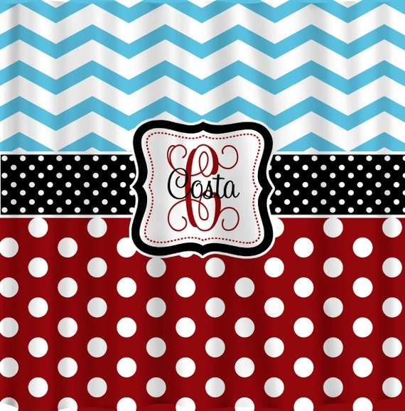 Personalized Shower Curtain Blue ChevronRed Polka by redbeauty