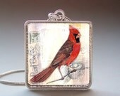 Cardinal Pendant with Necklace and Matching Gift Tin - Silver and Resin Art Pendant - Photo Pendant Charm - TwentySix7Handmade