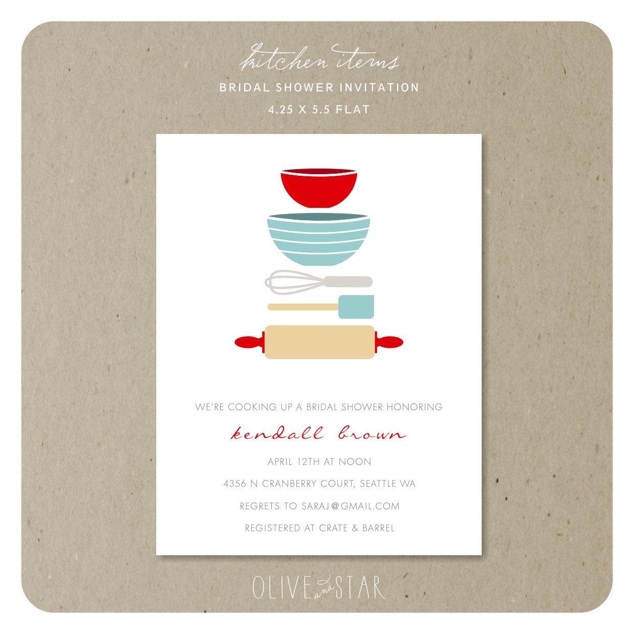 Kitchen Baking Items // Bridal Shower Invitation By