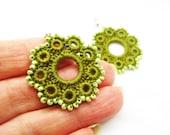 Hand Crochet Beaded Flower Earrings an Olive Green - accessoriesbynez
