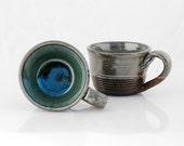 ceramic mugs blue  - set of two - claylicious