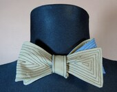 Reversible Bow Tie Blue Cotton/ Beige with Top Stitching