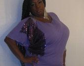 Purple Rain - Posh N Petals Knit Purple Sequin  Embellished Blouse - 1 X  - 2X Plus Size