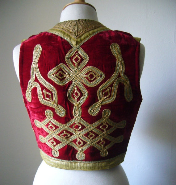 Antique Ottoman 1800s Red and Gold Embroidered Velvet Vest Waistcoat