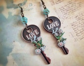 The Key of Love - Unique key and birds dangle earrings - exoticperujewelry