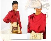 vintage women's 1980s wine silk unique a symmetrical blouse