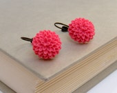 Hot Pink Flower Earrings, Fuschia Floral Earrings, Antique Bronze Earrings, Vintage Style Earrings - Fuschia Mum Earrings - merryalchemy