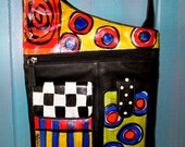 Asymetrical leather hand painted shoulder purse