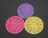 Pink, Lavender or Yellow Crochet Round Earrings. CHOOSE