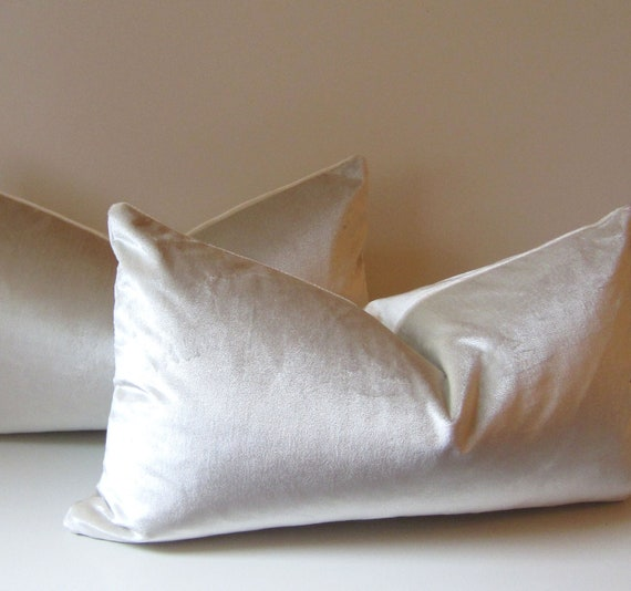 Silver pillow - Decorative Pillow Cover -  12 X 22 inch - Lumbar Pillow - Silver velvet - silk velvet - ready to ship