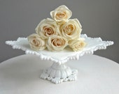 Westmoreland Milk Glass Cake Stand - Square - Petal and Ring - Wedding Cake Stand - BarkingSandsVintage