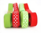 Red and Green  3/8 inch Grosgrain Ribbon Holiday Collection solid and Polka dots (16 yards) -A484