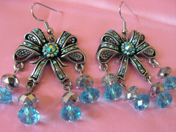 Blue Crystal and Rhinestone Bow Chandelier Earrings