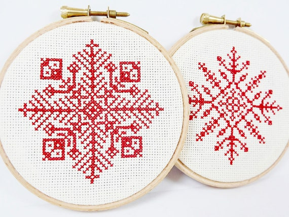 2 pc Set - Red Snowflake - Christmas - Complete Cross Stitch - Embroidery Hoop Wall Art - Red & Cream