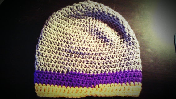 Heather Gray Beanie with Purple and Gold Stripes