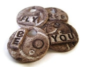 Words - Ornament - Gift Topper - Pendant - Clay Tag by LiLaO - Set of 4 - Be You Fly Free - LiLaO