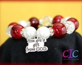 Red and White You are A Gift From God Rhinestone Affirmation bracelet