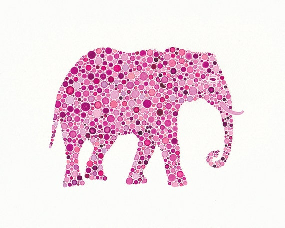 Dahlia Rose, 5 x 7 inch Print of  a Pink Elephant