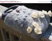 ON SALE OOAK felted bag with flowers and embedded shells - grey purse - embroidered river detail - BitsOfFiber