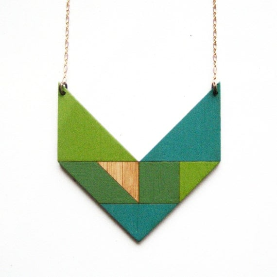 Tangram necklace / V / turquoise & grass green