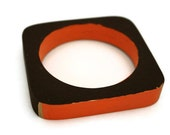 Chocolate brown and orange square wooden bangle fashion jewelry fall - Ahkriti
